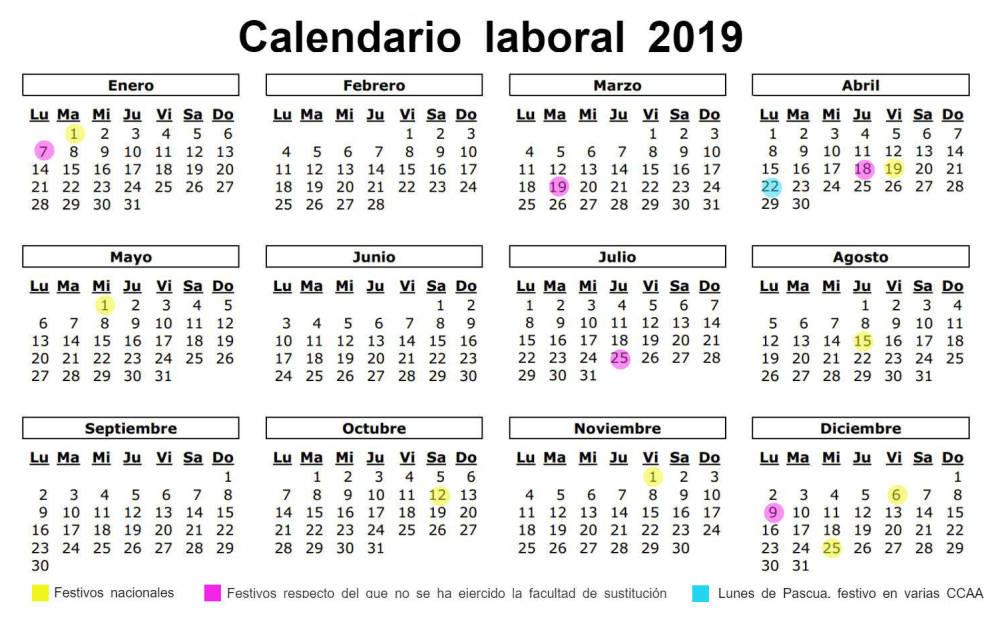 Calendario Laboral Jaen 2020.Calendario Laboral De Espana En 2019 Asesoria En Jaen Benavides