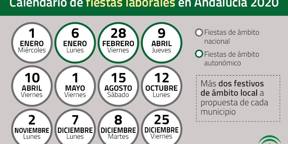 Calendario Laboral Jaen 2020.Calendario De Fiestas Laborales En Andalucia 2020
