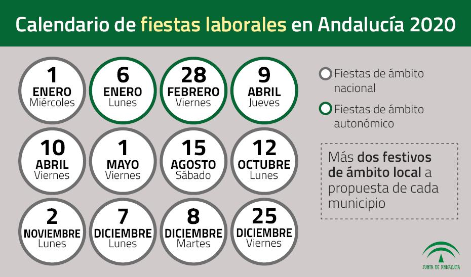 calendario de fiestas laborales en Andalucía 202